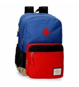 Mochila Pepe Jeans Dany Dos Compartimentos Azul -31x46x15cm-