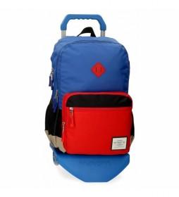 Mochila Pepe Jeans Dany Dos Compartimentos con Carro Azul -31x46x15cm-