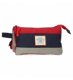 Estuche Pepe Jeans Dany Tres Compartimentos Rojo -22x12x5cm-