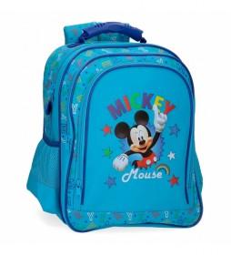 Mochila Escolar Mickey Stars Dos Compartimentos -29x38x16cm-