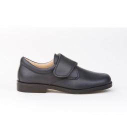 Zapatos/ Mocasín de Piel Blucher Velcro marino