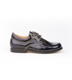 Zapatos de Piel Blucher  Charol marino