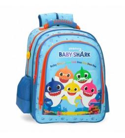 Mochila Escolar Baby Shark Doble Compartimento -28x38x16cm-