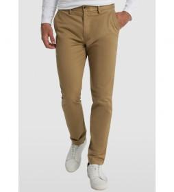 Pantalón Chino Slim Satén Elástico marrón