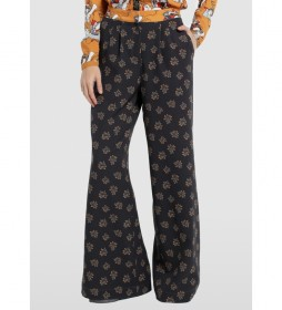 Pantalón Palazo Capri Estampado negro