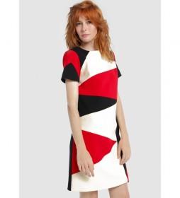 Vestido Patchwork Tricolor negro, rojo, blanco