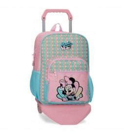 Mochila Minnie Mermaid con carro rosa -30x38x12cm-