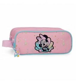 Estuche Minnie Mermaid dos compartimentos rosa -23x9x7cm-