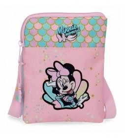 Bandolera Minnie Mermaid plana rosa -13x16,5x1,5cm-