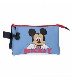Estuche Mickey Moods tres compartimentos azul -22x12x5cm-