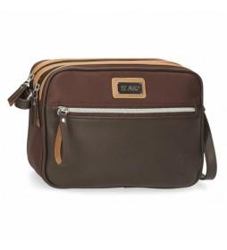 Bandolera dos compartimentos El Potro Chic marrón -25x19x6,5cm-