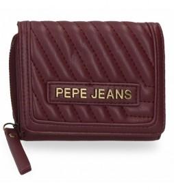 Billetero Pepe Jeans Amanda con monedero burdeos -10x8x3cm-