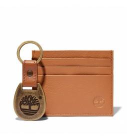 Tarjetero llavero Key Ring marrón -10,2 x 8,3 cm-