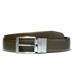 Cinturón de piel Reversible verde, negro