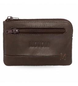 Monedero de piel Fantasy marrón -11x7x1,5cm-