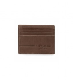 Tarjetero de piel Pepe Jeans Ander marrón -9,5x7,5cm-