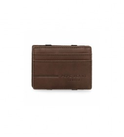 Billetero de piel Pepe Jeans Ander con tarjetero marrón -9,5x6,5x1cm-