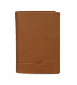 Cartera de piel Pepe Jeans Ander vertical con monedero camel -8,5x11,5x1cm-