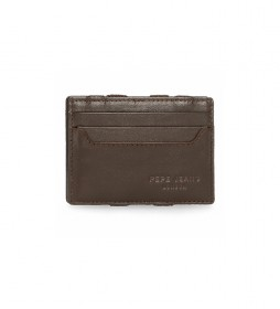 Billetero de piel Pepe Jeans Dark con tarjetero marrón -9,5x6,5x1cm-