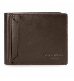 Cartera de piel Pepe Jeans Dark horizontal con monedero marrón -12,5x9,5x1cm-