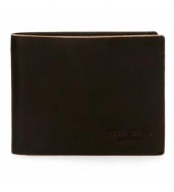 Billetero de piel Pepe Jeans Scraped negro -11,5x8x1cm-