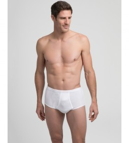 Braslip abierto de hombre blanco de algodón canalé