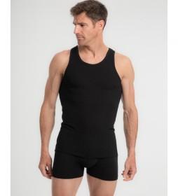 Camiseta interior de tirantes de algodón negro