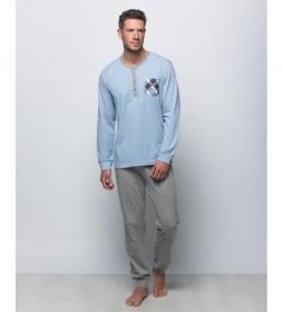 Pijama largo de punto azul grisáceo