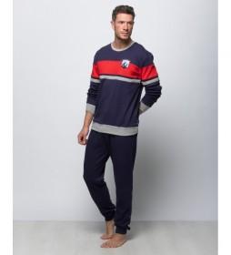 Pijama largo de punto azul marino