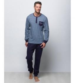Pijama largo azul marino estampado