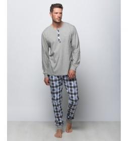 Pijama largo de punto gris jaspeado