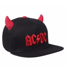 Gorra Premium Cuernos ACDC negro, rojo