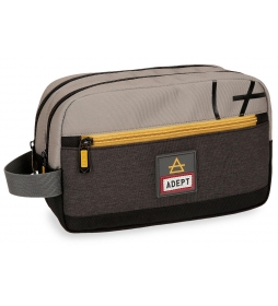 Neceser Truck Adept Gris doble compartimento adaptable a trolley -24x15x10cm-