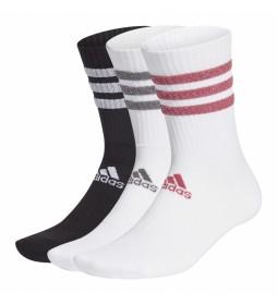 Pack de tres calcetines calcetines blanco, negro