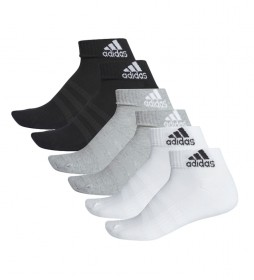 Pack de 6 Calcetines Cushioned Ankel negro, gris, blanco