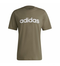 Camiseta Essentials Embroidered Linear Logo verde kaki