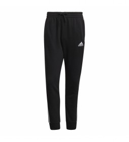 Pantalón Essentials French Terry Tapered Cuff 3 bandas negro