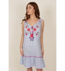 Camisola tirantes Mexican Embroidery azul