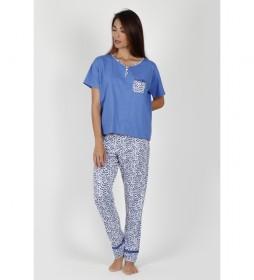 Pijama Manga Corta azul