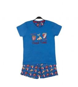 Pijama Fast Food azul