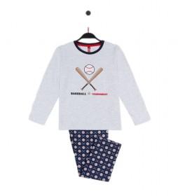 Pijama Baseball gris, azul