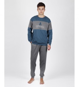 Pijama Down gris, azul