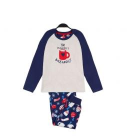 Pijama Family Breakfast blanco, marino