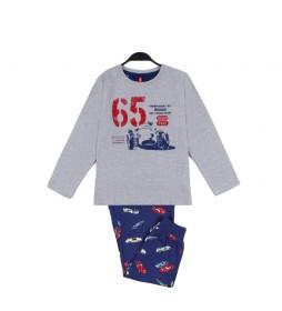 Pijama Grand Prix gris, azul