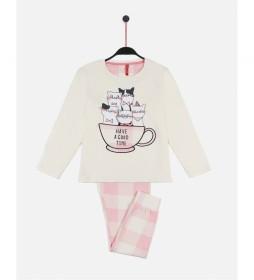 Pijama a Good Time beige, rosa