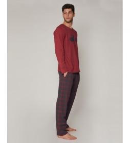 Pijama Life is Admas granate, gris
