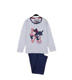 Pijama Manga Larga Lou Lou Love gris