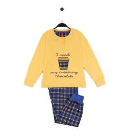 Pijama Morning Chocolate mostaza, azul
