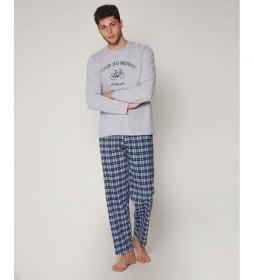 Pijama Tour gris, azul