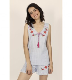 Pijama tirantes Mexican Embroidery azul